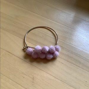 Pink Pom Pom Gold Plated Charm Bracelet